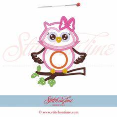 58 Owl : Owl On Branch Applique 5x7