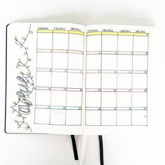 April • Dansk bullet journal    Monthly spread bullet journal April.