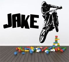 Personalised Motocross Motorbike Wall Art Sticker