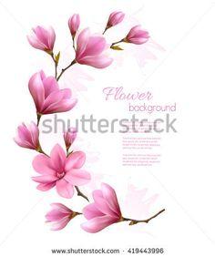 Beautiful magnolia background. Vector.