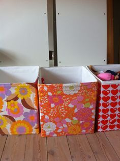 IKEA storage boxes covered in vintage fabric