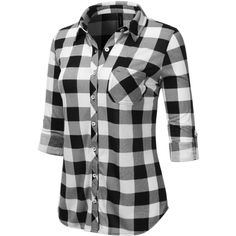 JJ Perfection Womens Long Sleeve Collared Button Down Plaid Flannel... (€12) ❤ liked on Polyvore featuring tops, plaid button down shirt, plaid long sleeve shirt, plaid button up shirts, button down collar shirts and flannel button-down shirts