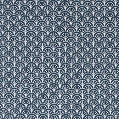 Vevet blå m hvit bølgemønster
