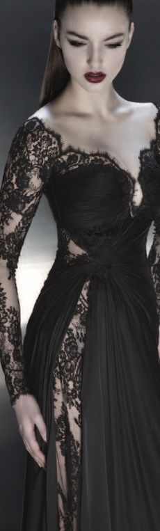 PAVONI Pre-Fall 2013.I love this idea for a wedding dress, where the lace shows through on top, goes under the fabric, and then shows through somewhere in the skirt. #GothicFashion