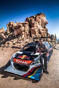 2013 Pikes Peak Hill Climb winner Sébastien Loeb with his record setting Peugeot 208 505 Peugeot, Pikes Peak, Top Cars, Drag Cars, Rally Car, Car And Driver, Sport Cars, Automobile, Racing