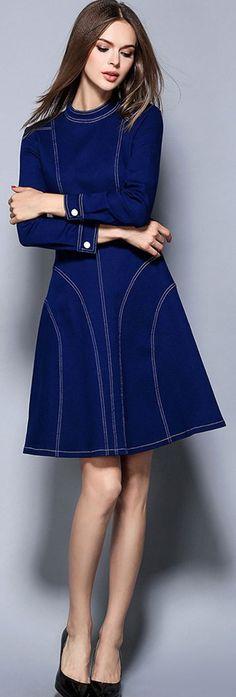 Blue Crew Neck Long Sleeves Knee Length Dress