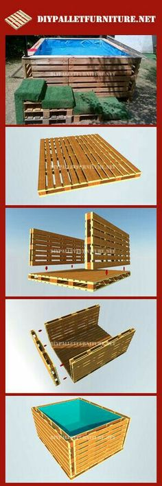 Pallet Swimming Pool - The Best Pallet Furniture And DIY Ideas. A DIY pallet swimming pool that is perfect for any backyard. Pallet Crafts, Diy Pallet Projects, Outdoor Projects, Wood Projects, Woodworking Projects, Wooden Crafts, Pallet Ideas, Furniture Projects, Diy Crafts
