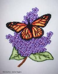Resultado de imagem para cross stitch flowers and butterflies