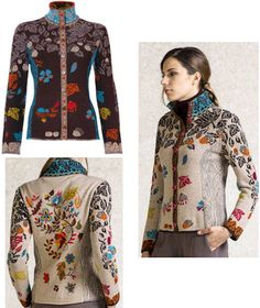 IVKO Woman Embroidered Forest Jacket Style 62710 025 BEIGE or 029 BROWN