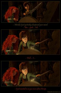 I love Hiccup and Merida. If something happened to Astrid or if she didn't want him (which both situations would depress me deeply), I would want Hiccup and Merida shipped together. They're the best couple next to Hijack. Httyd, Disney And Dreamworks, Disney Pixar, Disney Animation, Rapunzel, Brave, Merida And Hiccup, Crossover, Disney Ships