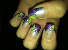 My nail design from Nails-Go-Round in Tucson az marti gras inspired