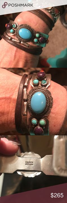 SS Native American multi stone cuff Vintage Sterling silver Native American cuff.  Signed by famous artist PA Smith.  Weighs 39 grams. Stinescinclude turquoise, amethyst, coral Jewelry Bracelets