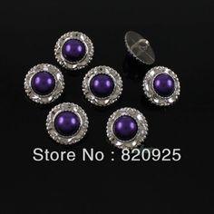 40 Pcs bonito roxo pérola de imitação de plástico Shank botões de costura 22 milímetros U$ 5.93