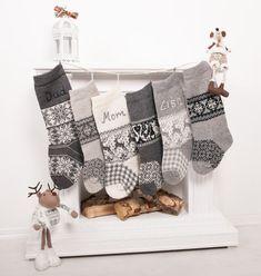 Personalized Christmas Stockings - White Gray - Knitted Christmas Stockings with handmade embroidery -Christmas decor -Monogrammed Stockings