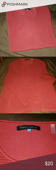 Vince Camuto sweater - red- NWOT 63% cotton  37% nylon  Stretchy sweater. Seems to run larger than size. Could fit a large, maybe XL Sweaters