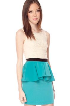 Pep in Your Step Combo Dress in Cream and Teal $41