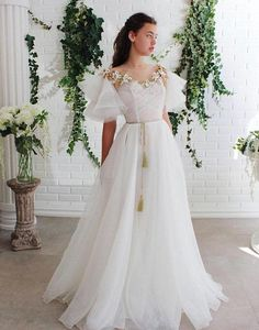White round neck lace tulle long prom dress white lace evening dress from of girl Lace Evening Dresses, Elegant Dresses, Day Dresses, Pretty Dresses, Beautiful Dresses, Flower Girl Dresses, Prom Dresses, Dresses With Sleeves, Formal Dresses