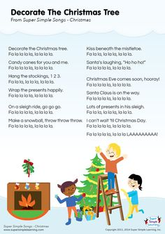 """Lyrics poster for """"Decorate The Christmas Tree"""" Christmas song from Super Simple Learning. #kidssongs #kindergarten #ESL"""