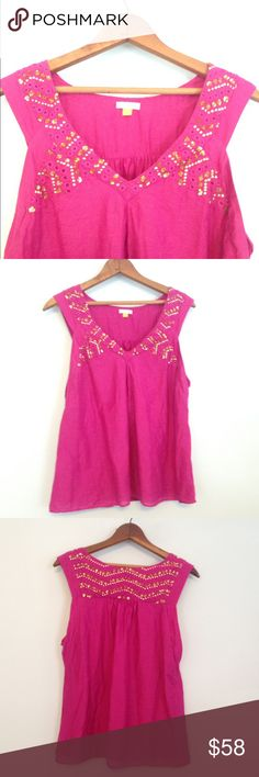 🆕 Leifsdottir gold sequin tank top With its rich fuchsia color and sparkling gold sequins, this tank top by Leifsdottir for Anthropologie is perfect for the bling-lover! Nice lightweight material, ideal for beach breezes. Size 6, in amazing condition! Anthropologie Tops Tank Tops