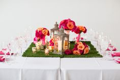 moss  + pink centerpieces // photo by iLuvPhoto.com