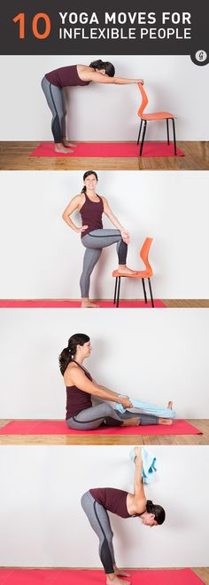 You don't need to be able to touch your toes to do these poses that help prevent injuries and increase your range of motion. #yoga #stretching #fitness https://greatist.com/move/yoga-mega-inflexible-people