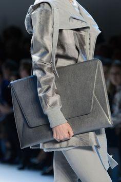 Grey leather portfolio clutch, chic fashion details // Akris Fall 2015