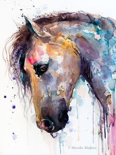 - Wall Art Ideas - Belle aquarelle cheval peinture impression par Slaveika Aladjova, art animalier, illustration, art m. Watercolor Horse, Watercolor Animals, Watercolor Artists, Abstract Horse Painting, Simple Watercolor, Tattoo Watercolor, Watercolor Ideas, Watercolor Artwork, Watercolor Paper