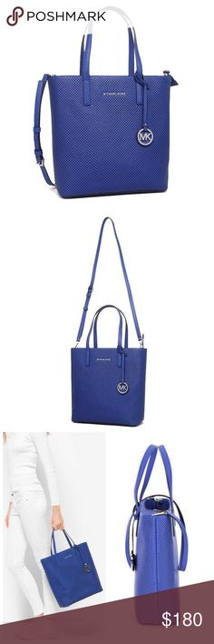 "🎁🆕 MICHAEL KORS Hayley Perforated-Leather Bag Fabulous Hayley leather tote in electric blue. New with tags and dust cover.  -100% Leather  -Rhodium Hardware  -15""W X 14""H X 5""D  -6.5"" Handle Drop  -Adjustable Strap: 19.25""-21.75""  -Interior: Detachable Zip Pouch, 1 Slip Pocket  -Magnetic Snap Closure  -Lining: 100% Polyester MICHAEL Michael Kors Bags"