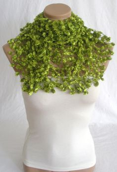 Hand crocheted green magic shawl by Arzus on Etsy, $49.00