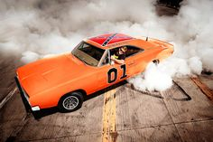 """The General Lee  You recognize this hot little number from the small screens of 1979 to 1985, when it raced around fictional Hazzard County, GA in """"The Dukes of Hazzard"""" TV series. This particular 1969 Dodge Charger was used in the last three seasons, and is the only surviving original 440 R/T car. When those rascally Duke boys jumped their final gulch in 1985, 17 General Lees remained, out of around 235 crashed over the series' 7 years."""