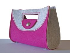 Handtasche Filz pink / weiß Henkeltasche von MargritliDesign