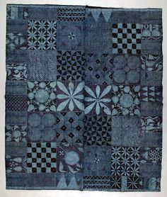 Africa | Wrapper ~ adire ~ from the Yoruba people of Nigeria | ca. 1970 | Cotton; stencil resist indigo dyed