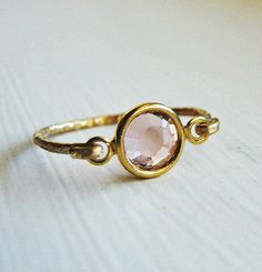 Romantic Peach Swarovski 14k Gold Ring. $21.00, via Etsy.