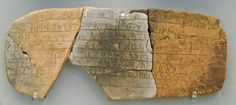In 1900, Arthur Evans excavated the ruins of Knossos, in Crete.  He found these clay tablets in the process. He called it Linear B Script.  This piece contains information on the distribution of bovine, pig and deer hides to shoe and saddle-makers. Photo: Sharon Mollerus via Wikimedia Commons