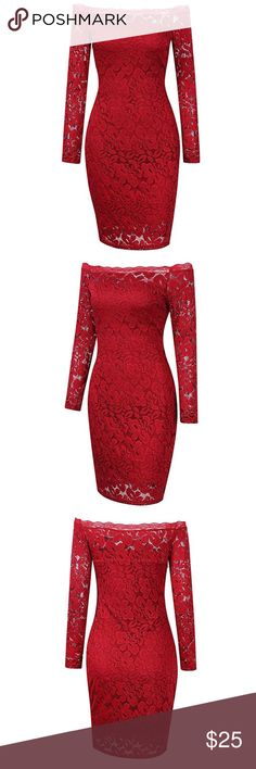 NWT Women's Lace Off The Shoulder Cocktail Dress Red lace, bodycon, cocktail dress. Off the shoulder with long sleeves and a side zipper. Total length 34 inches. Bust: 41 inches. Waist: 36 inches. Sleeve length: 22 inches. Dresses