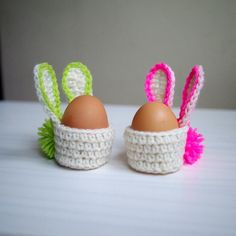 Crochet pattern Easter Bunny basket egg cozy egg by byaccessorise Easter Projects, Easter Crafts For Kids, Crochet Amigurumi, Crochet Toys, Easter Crochet Patterns, Crochet For Easter, Crochet Egg Cozy, Tunisian Crochet, Easter Bunny Eggs