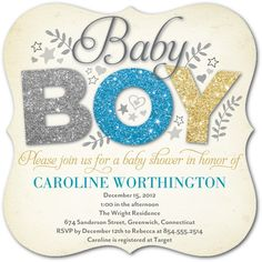 All Things Glitter: Aqua - Baby Shower Invitations in Aqua | Hello Little One