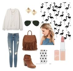 """""""Flamingo"""" by meganjuliana on Polyvore featuring Frame Denim, LC Lauren Conrad, Superdry, Ray-Ban, Urban Outfitters, Valentino and Rimmel"""