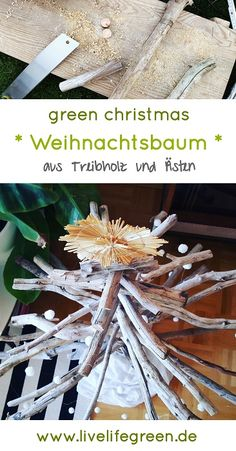 DIY-Weihnachtsbaum aus Holz und Ästen. Baut euren Weihnachtsbaum doch einfach selber. Für ein nachhaltiges Weihnachten ohne Müll. Green Christmas, Cocktail, Bottle Candles, Sustainable Gifts, Small Trees, Cocktails, Shake