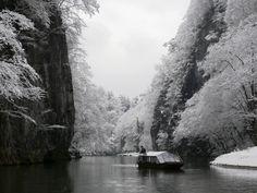Wintertime Geibi Gorge in Ichinoseki, Tohoku. By thesoulofjapan.blogspot.com