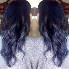 Steel blue grey ombre balayage with black roots and soft curls