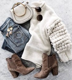 #winter #outfits white sweater, jeans, brown suede boots,white bag