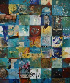 La peinture de Carole Bressan est une peinture objet organisée autour de calligraphies diverses, de lettrines, de sphères suspendues