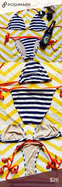 Bikini American Flag Everything but Water Iconic. Sexy. Classic. That's this bikini. Wish I could pull it off but the girls need more support up top. Flawless condition, fully lined and no see through. Bottom is medium coverage depending on size of your booty! Top would best fit someone C cup Or smaller. Summer time staple! everything but water Swim Bikinis