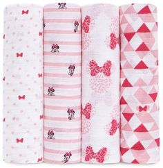Minnie Mouse Muslin Swaddle Blanket NWT Motif Baby Girl Aden /& Anais Disney