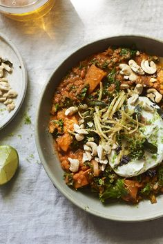 Melissa Hemsley's recipe for a nutritious tomato, butternut squash & lentil coconut curry from the brilliant new e-cookbook 'Staying In,' filled with lockdown recipes from top chefs and food writers. Lentil Recipes, Veggie Recipes, Asian Recipes, Dinner Recipes, Ethnic Recipes, Veggie Food, Free Recipes, Recipe 30, Recipe Ideas