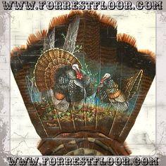 Forrest Floor Art  www.wildlifecabindecor.com Turkey Painting, Turkey Art, Wild Turkey, Taxidermy Decor, Taxidermy Display, Wildlife Paintings, Wildlife Art, Owl Paintings, Feather Painting