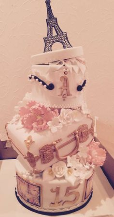 Wow!!! Araceli's Parisian Quinceañera cake is out of this world!! See more party ideas at CatchMyParty.com
