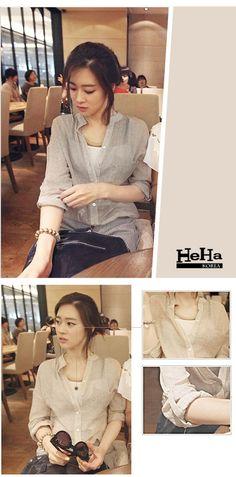 【HeHa】襯衫 棉麻薄款長袖可反折襯衫罩衫 二色 - PChome購物中心