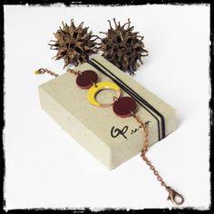 Bracelet fin moderne et minimaliste en emaux sur cuivre jaune et cuir vert chaine cuivre